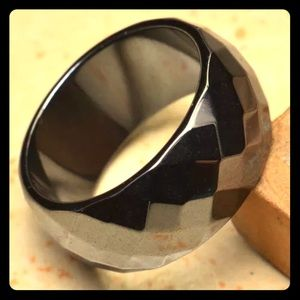 Wide Band Faceted Hematite Men's Ring